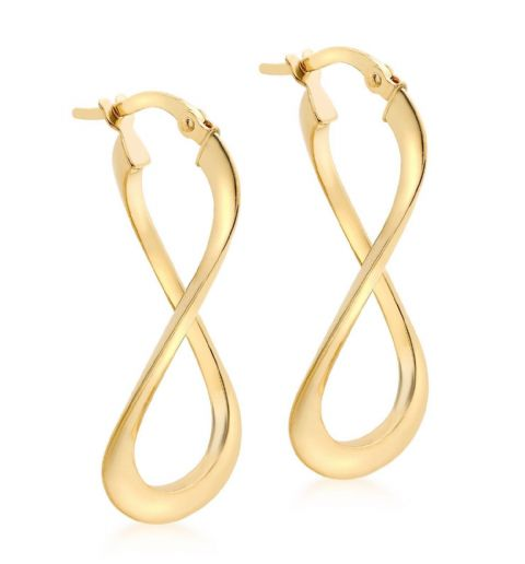 9ct Yellow Gold Twist Infinity Figure of Eight Drop Hoop Earrings        9099